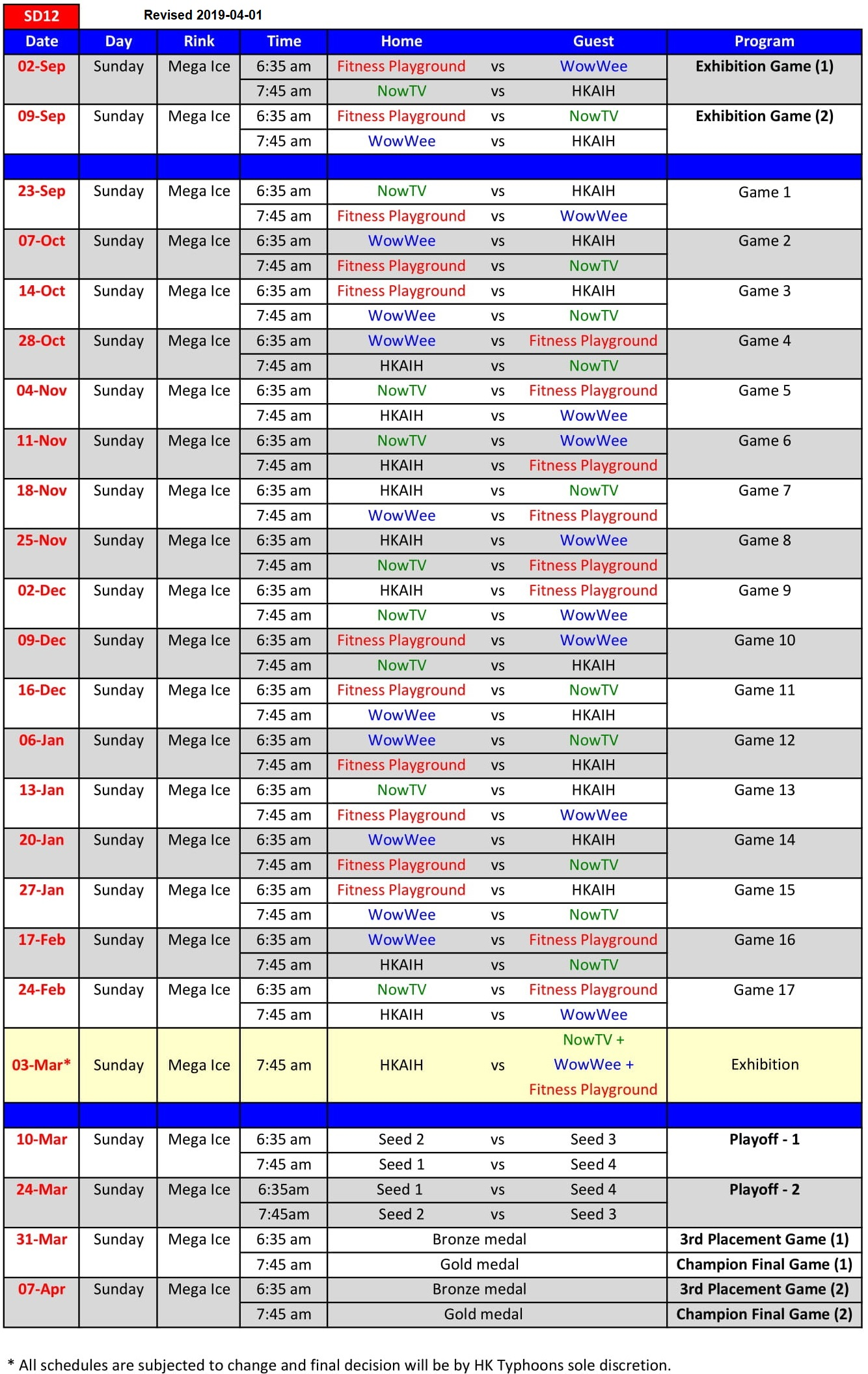 Game Schedule 20190213 SD12 R1 PDF